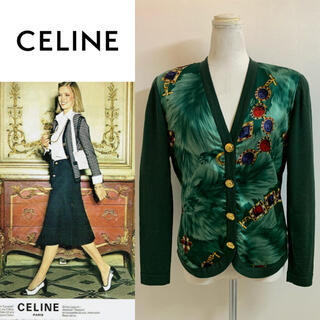 セリーヌ(celine)のCELINE PARIS VINTAGE ITALY製 柄切替ニットカーディガン(カーディガン)
