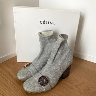 セリーヌ(celine)のcelineフィービー ストレッチ ラメショートブーツ37(ブーツ)