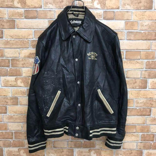 schott(ショット)の【ショット】レザージャケット リアルレザー スタジャン 刺繍ロゴ ワッペン メンズのジャケット/アウター(レザージャケット)の商品写真