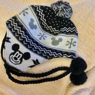 ディズニー(Disney)のニット帽 【ディズニー ミッキーニット帽 白×黒】(ニット帽/ビーニー)