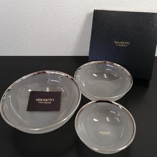 ミキモト(MIKIMOTO)のR80 MIKIMOTO プラチナ加飾 ガラスボウル 3つセット 未使用 箱あり(食器)