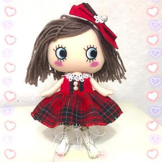 アタオ(ATAO)のイーマリー服 赤のタータンチェックワンピセット(ぬいぐるみ)