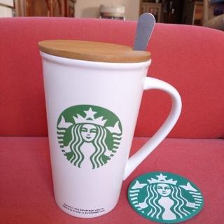 スターバックスコーヒー(Starbucks Coffee)の新品 スタバ 大マグカップ スプーン蓋 コースター セット(グラス/カップ)