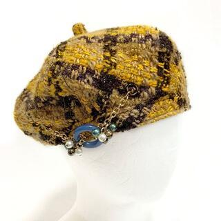 ミサハラダ(misaharada)のmisaharada ミサハラダ ツイード ベレー帽 ビジュー ウール リネン混(ハンチング/ベレー帽)