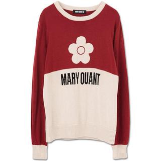マリークワント(MARY QUANT)の新品 マリークワント バイカラーニット プルオーバー 赤(ニット/セーター)