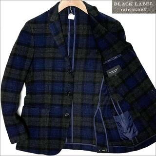 BURBERRY BLACK LABEL - J3144 美品 バーバリーブラックレーベル チェック柄 ツイードジャケット紺L