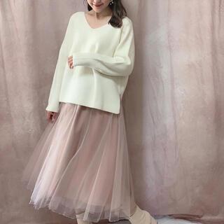 エブリン(evelyn)の新品 今季アンミール     チュール スカート シフォンロングスカート(ひざ丈スカート)