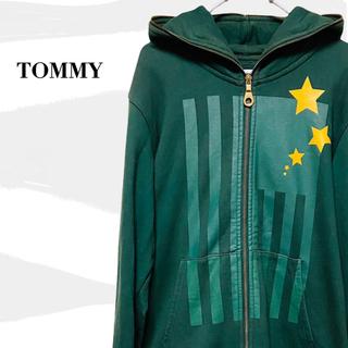 トミー(TOMMY)の希少 TOMMY トミー フルジップパーカー 緑 ビッグロゴ(パーカー)