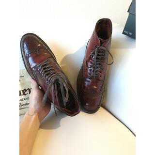 オールデン(Alden)の貴重Cウィズ Alden コーバン ウィングチップブーツ バーガンディ 8C 箱(ブーツ)