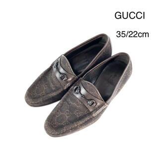 グッチ(Gucci)のGUCCI グッチ ホースビット ローファー キャンバス 革 35 22cm(ローファー/革靴)