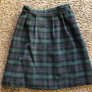ボンメルスリー(Bon merceie)の暖かい!膝丈スカート チェックスカート 38(ひざ丈スカート)