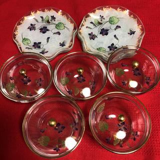 トウヨウササキガラス(東洋佐々木ガラス)の東洋佐々木硝子 蓋付き冷茶グラス 小皿 5客セット(食器)