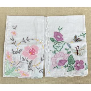 刺繍 ハンカチ 2枚(ハンカチ)