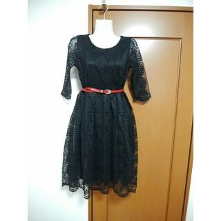 新品☆シースルー 黒レースワンピース フォーマル ドレス 上品 フレア 長袖(ミディアムドレス)