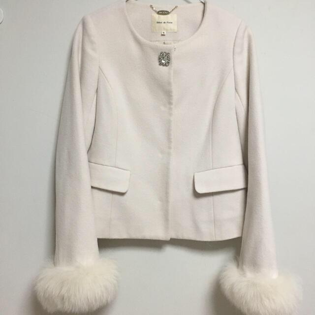 Debut de Fiore(デビュードフィオレ)のDebut de Fiore アンゴラノーカラーコート レディースのジャケット/アウター(毛皮/ファーコート)の商品写真