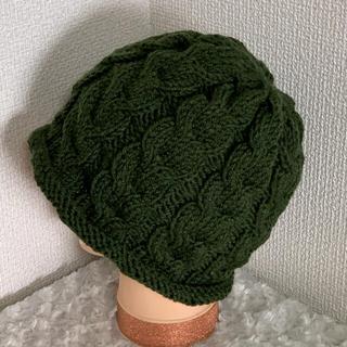 ハンドメイドニット帽♡カーキー(帽子)
