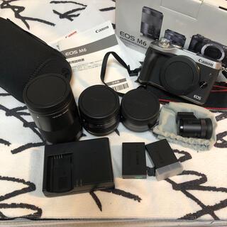 キヤノン(Canon)のEOS M6 ダブルズームキット+単焦点レンズ+電子ビューファインダー(ミラーレス一眼)