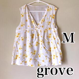 グローブ(grove)の美品 grove 花柄ノースリーブ M(シャツ/ブラウス(半袖/袖なし))