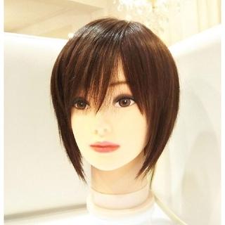 レミー人毛100%ウィッグ横流し前髪❣️宇多田ヒカル✨艶髪!前下がり美人ショート(ショートストレート)
