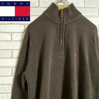 トミーヒルフィガー(TOMMY HILFIGER)の90s 古着 トミーヒルフィガー ハーフジップ ニット 刺繍ロゴ  ゆるだぼ(ニット/セーター)