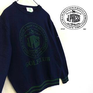 ジェイプレス(J.PRESS)の美品 J.PRESS ニット デカロゴ セーター メンズL ネイビー(ニット/セーター)