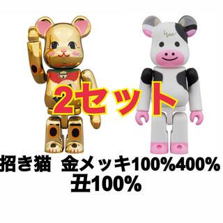 メディコムトイ(MEDICOM TOY)のBE@RBRICK 招き猫  金メッキ 金運 弐 100%/400%/丑100%(その他)