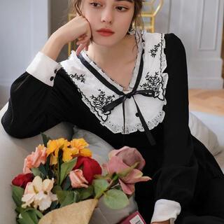 フィント(F i.n.t)の王妃の襟花刺繍ワンピース(ロングワンピース/マキシワンピース)