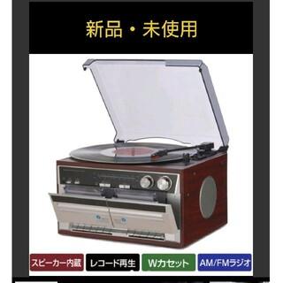 シャープ(SHARP)のダブルカセット レコードプレーヤー TT-386W AMFMラジオ付き(ポータブルプレーヤー)