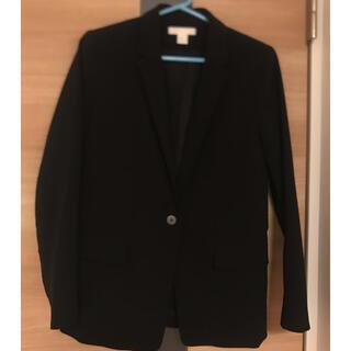 エイチアンドエム(H&M)のテーラードジャケット  36  ブラック(ノーカラージャケット)