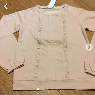 ユニクロ(UNIQLO)の【GU  新品未使用ラメ入りフリル切替トレーナープルオーバー トップス 150(Tシャツ/カットソー)