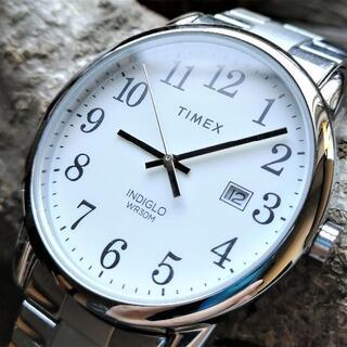 タイメックス(TIMEX)のTIMEX タイメックス 腕時計 ホワイト デイト 3針 INDIGLO 稼動品(腕時計(アナログ))