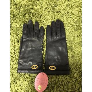 クリスチャンディオール(Christian Dior)のクリスチャンディオール レザー手袋 グローブ  黒(手袋)