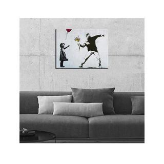バンクシー ポスター 落書き アート個性的な絵木製の枠 キャンバス絵画(ボードキャンバス)