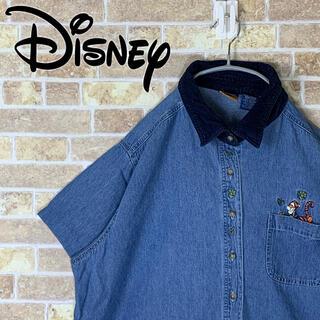 ディズニー(Disney)の送料無料!! ディズニー 刺繍ロゴ ゆるだぼ 90s デニムシャツ(シャツ)