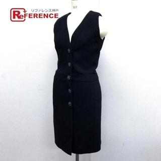 シャネル(CHANEL)のシャネル ビジュー Vネック フロントボタン ドレス ツイード 15C ブラック(その他ドレス)