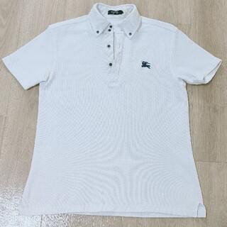 バーバリーブラックレーベル(BURBERRY BLACK LABEL)の美品!!3(L)白 前立て/首周りノバチェック柄 鹿の子編み 半袖ボタンダウンポ(ポロシャツ)