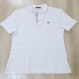 バーバリーブラックレーベル(BURBERRY BLACK LABEL)の美品!!4(LL)白 前立てノバチェック柄 半袖 鹿の子編み ポロシャツ Bur(ポロシャツ)