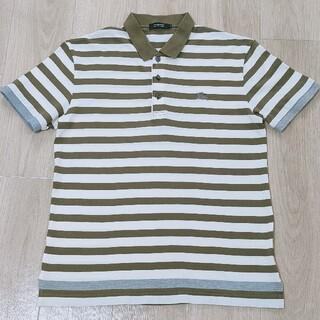 バーバリーブラックレーベル(BURBERRY BLACK LABEL)の美品!!3(L)グリーン×ホワイト ボーダー柄 半袖ポロシャツ Burberry(ポロシャツ)