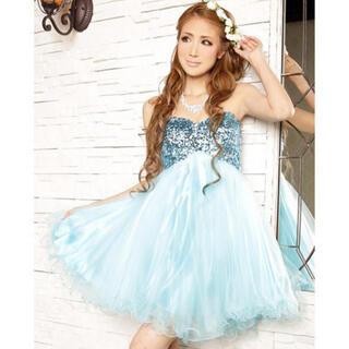 エンジェルアール(AngelR)のエンジェルアール 編み上げ ライトサックスブルー スパンコール フレア ドレス (ナイトドレス)