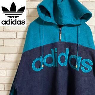 アディダス(adidas)の90s 古着 アディダス ハーフジップパーカー 刺繍ロゴ ビッグシルエット(パーカー)