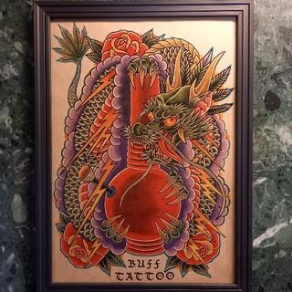 ワコマリア(WACKO MARIA)の「クレイジードラゴン」A4サイズ 刺青 タトゥーフラッシュ(ミラー)