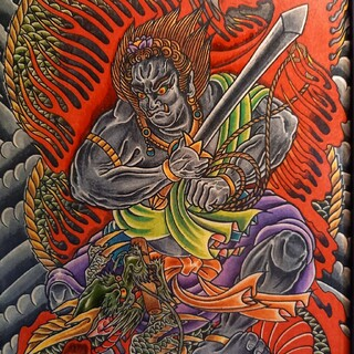トウヨウエンタープライズ(東洋エンタープライズ)の「不動龍・不動明王」A4サイズ 刺青 タトゥーフラッシュ(ミラー)