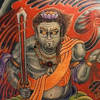 カラクリタマシイ(絡繰魂)の「不動明王」A4サイズ 刺青 タトゥーフラッシュ(ミラー)