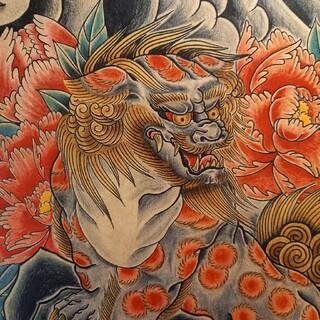 トウヨウエンタープライズ(東洋エンタープライズ)の「唐獅子牡丹」A4サイズ 刺青 タトゥーフラッシュ(ミラー)