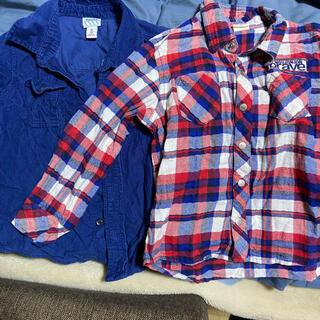 オールドネイビー(Old Navy)のOLD NAVY/MOUJONJON セット チェックシャツ 100cm(Tシャツ/カットソー)