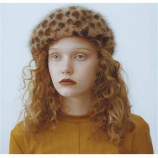レイビームス(Ray BEAMS)のヒョウ柄アンゴラベレー帽(ハンチング/ベレー帽)