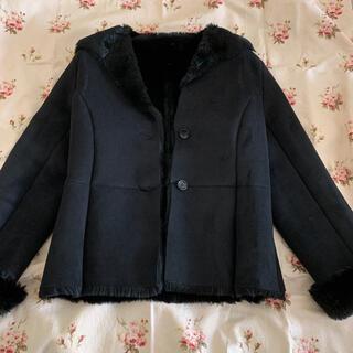 ジユウク(自由区)の自由区☆フェイクムートンコート ジャケット 黒 サイズ38(ムートンコート)