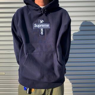 シュプリーム(Supreme)のL supreme クロスボックスロゴ ネイビー navy(パーカー)