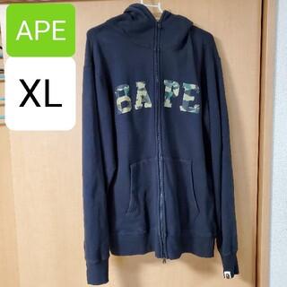 アベイシングエイプ(A BATHING APE)の【古着】A BATHING APE パーカー ブラック XL(マウンテンパーカー)