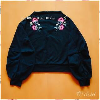 ダブルクローゼット(w closet)の《W closet》花柄 フラワー刺繍 ボトルネック プルオーバー F(トレーナー/スウェット)